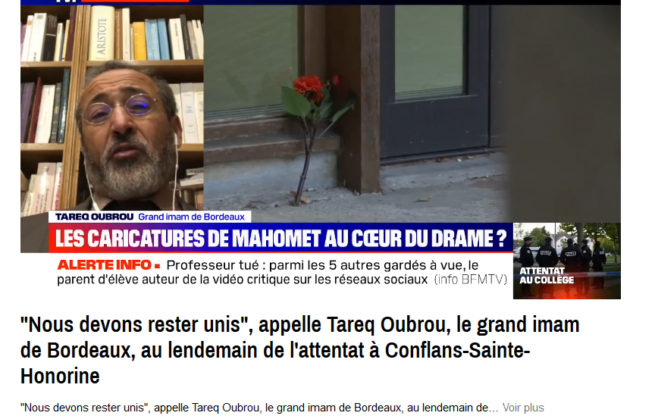 Conflans: le grand imam de Bordeaux appelle à